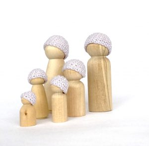Lavender Peg Doll family hats
