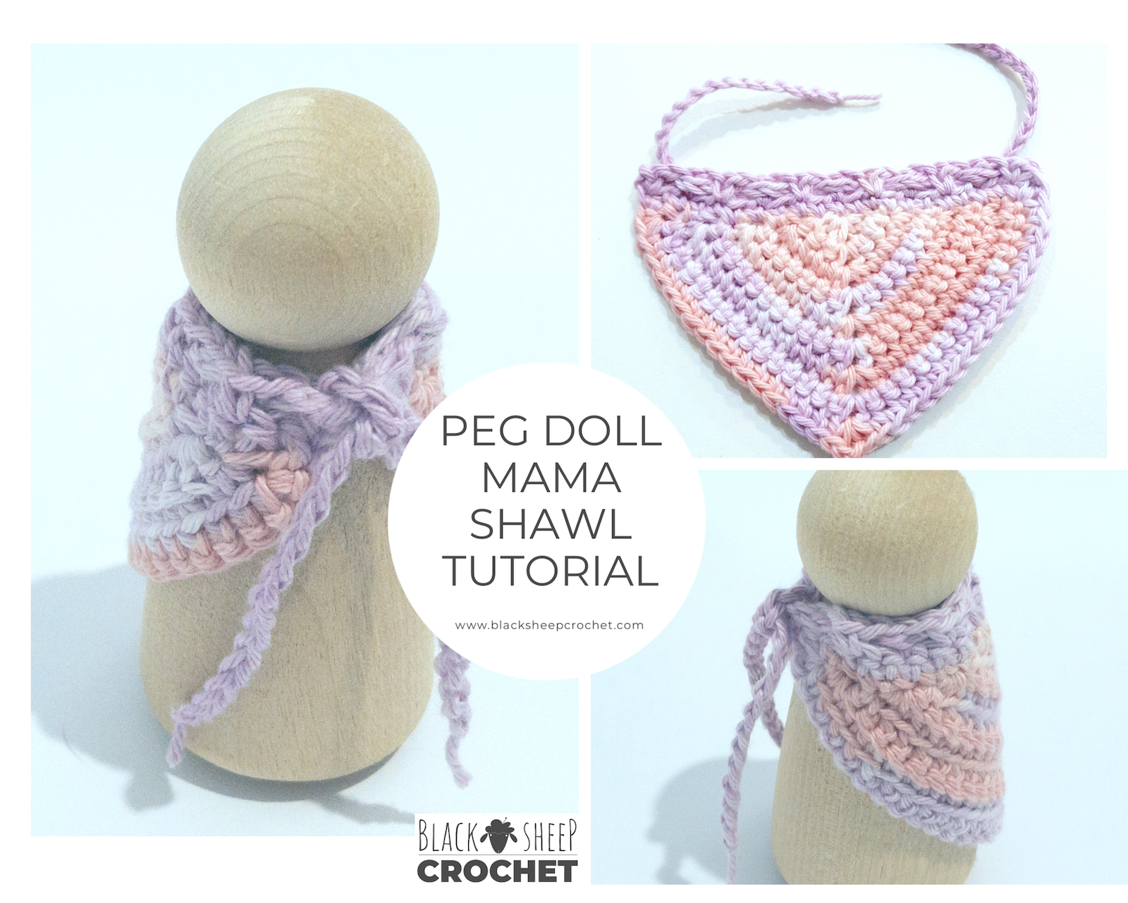 Peg Doll Mama Shawl tutorial square