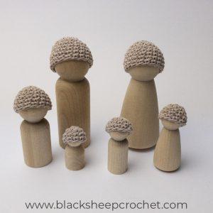 Mushroom Beanie family of 6 tut